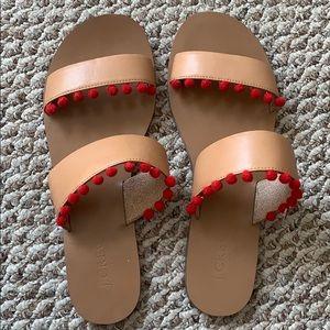 Jcrew Factory Boardwalk slides with pom-pom trim